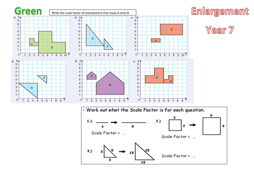 KS3 - Differentiated Enlargement Worksheets by mscookson ...