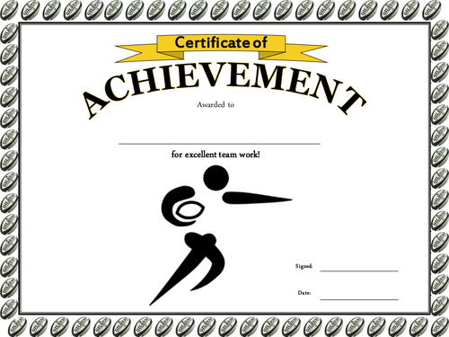 Rugby Tag Rugby Certificate By Charlottelangslow Teaching