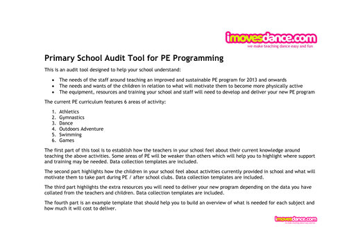 primary school audit tool for pe by minnie10 teaching