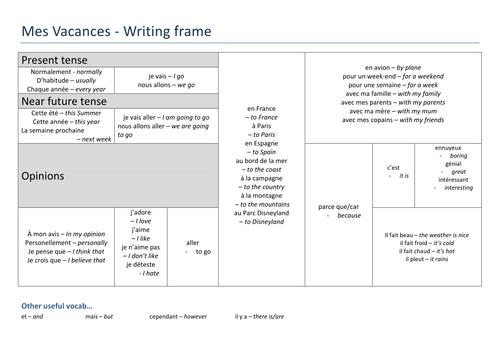 French: Holidays - Reading Worksheet