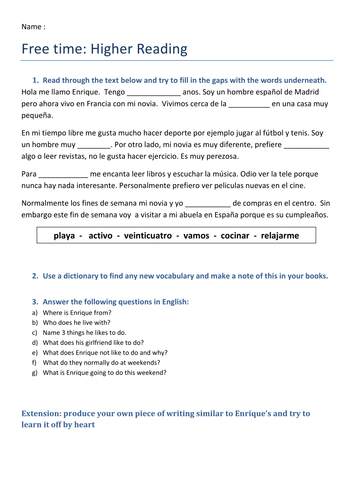 Spanish: Free time - Reading Worksheets