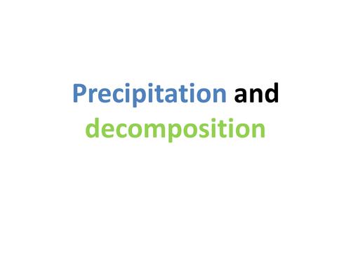 KS3 Chemistry: 8G Precipitation and decomposition