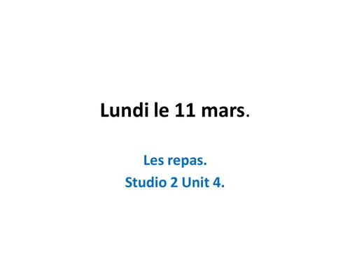 Les repas, using 3 tenses. Studio 2  Module 4