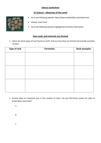 Rocks And Minerals Ict Task By Andy540 Teaching Resources Tes