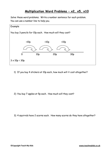 Multiplication Word Problems – x2, x5, x10