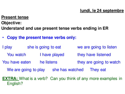 French er present tense verbs by regli Teaching Resources TES – Present Tense Verbs Worksheets