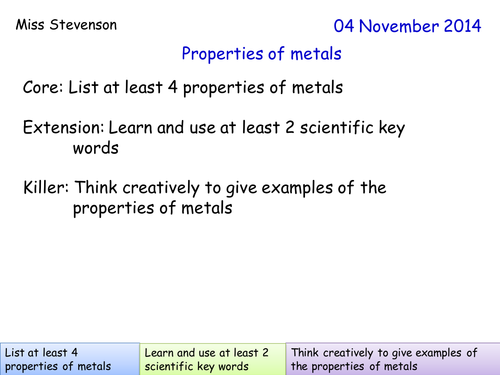 properties of metals by indigoandviolet teaching resources tes