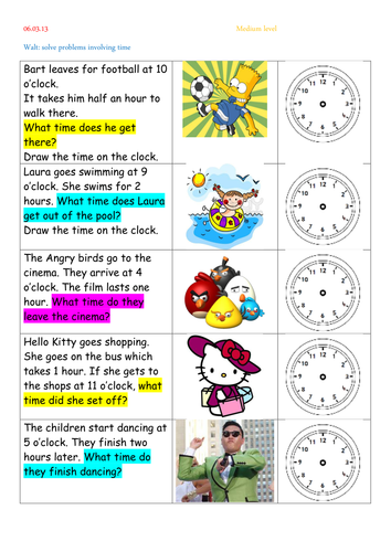 time word problems by thewolfe teaching resources. Black Bedroom Furniture Sets. Home Design Ideas