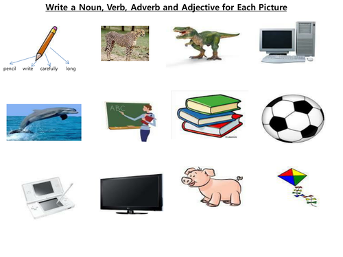 ADJECTIVEADVERBNOUNVERB Worksheet by DANNY31 Teaching – Nouns Verbs Adjectives Worksheet