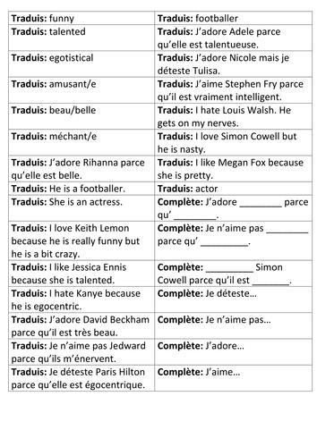 French: Describing Celebrities