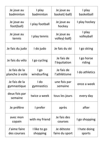 french sports vocabulary cards by dannielle89 teaching resources tes. Black Bedroom Furniture Sets. Home Design Ideas
