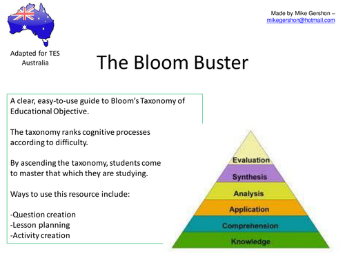 revised bloom taxonomy activities for teachers pdf