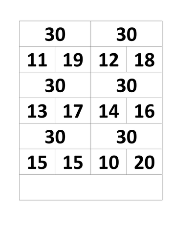 Bonds match game - within multiples of ten