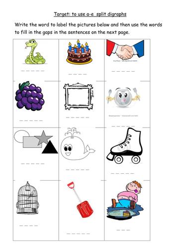 A E Split Digraph Worksheet Teaching Resources