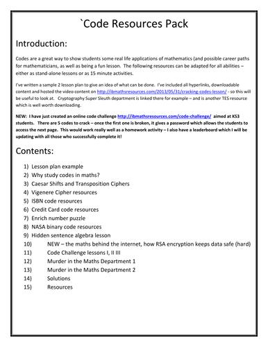 Maths Code Breaking Ciphers - Big Resource Pack
