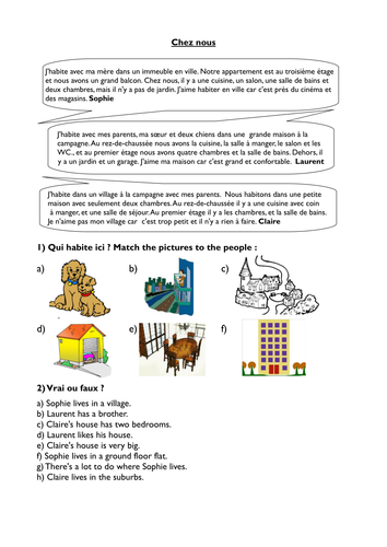 KS3 French - Our home - reading activity