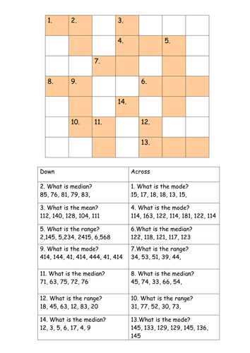 range mean mode and median crossword by mrmmchugh teaching