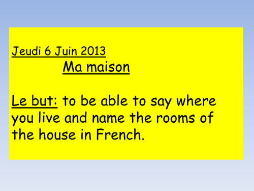 KS3 French - My house lesson 1