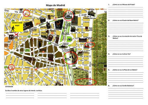 map of madrid giving directions writing activity by singapura teaching resources tes