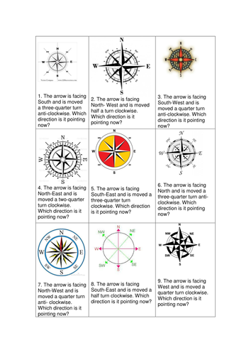 maths Compass Point question cards and answers KS2 by ellieteacher ...