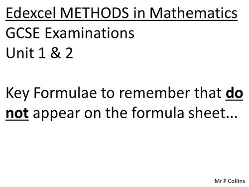 GCSE Mathematics Formulae for Revision