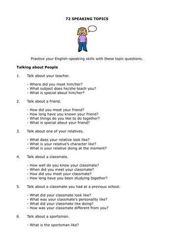 esl speaking topics