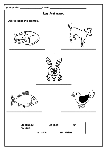 french pets les animaux worksheet by labellaroma teaching resources. Black Bedroom Furniture Sets. Home Design Ideas