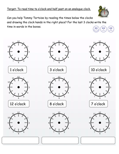 O'clock and half past editable worksheets by PandaPop25 - Teaching ...