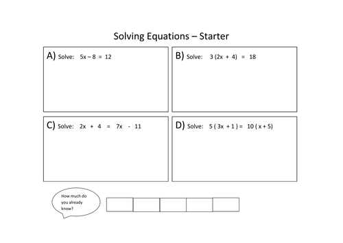 Solving equations L67 Lesson by fionajones88 Teaching – Solve Equations with Variables on Both Sides Worksheet