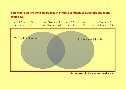 Solving quadratics by factorising venn diagram by alexanderpr solving quadratics by factorising venn diagram by alexanderpr teaching resources tes ccuart Image collections