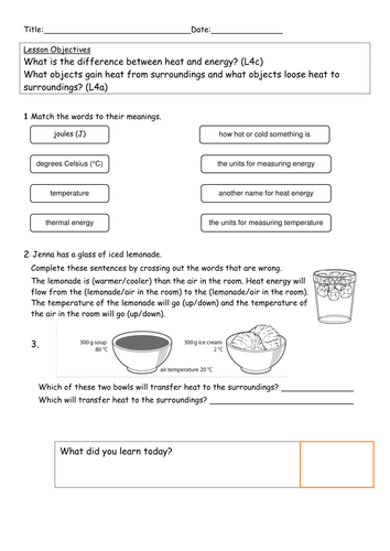 Explore Science Worksheets 8i Heat Transfer By Kittysensei