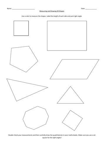 Drawing Lines Using A Ruler Worksheet : Measuring and drawing d shapes levels by rfernley