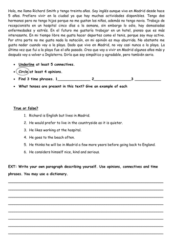 extended opinions worksheet ks4 spanish by abarquero teaching resources. Black Bedroom Furniture Sets. Home Design Ideas