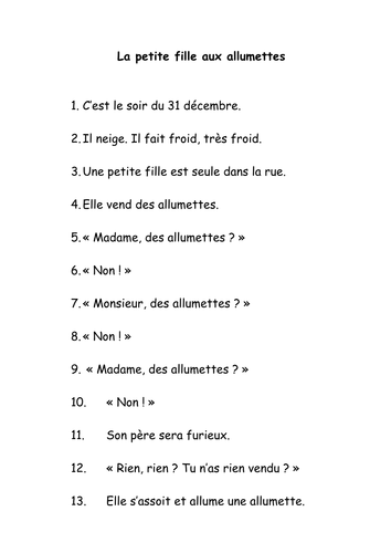 Ks1 French The Little Match Girl Script By Veroniquesampson