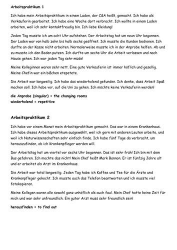 KS4 German: Work experience model answers