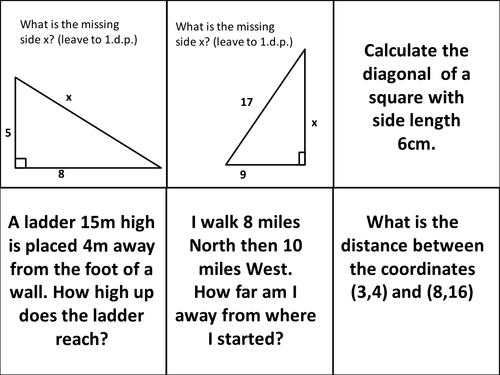 Trigonometry and Pythagoras POST IT challenge.