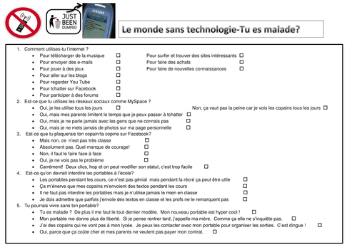 KS4 French - The world without technology