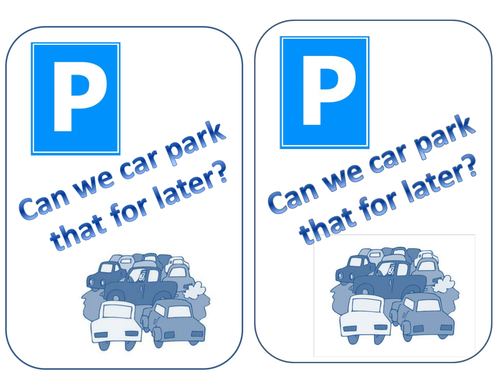 Car-park that for later: thinking skills poster