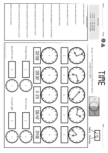 Time Worksheets : time worksheets matching digital to analog Time ...