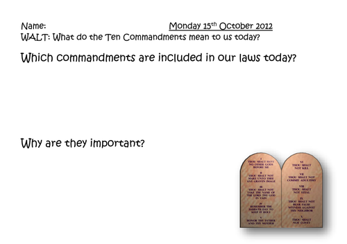 The Ten Commandments by lfoliver Teaching Resources TES – Ten Commandments Worksheets
