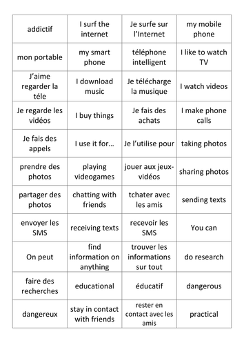 French: Technology Vocab Cards