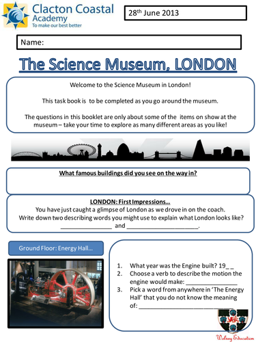 Worksheet For London Science Museum By Karic31 Teaching Resources
