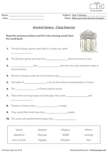 Ancient Greece Cloze Exercise By Loulabell86 Teaching