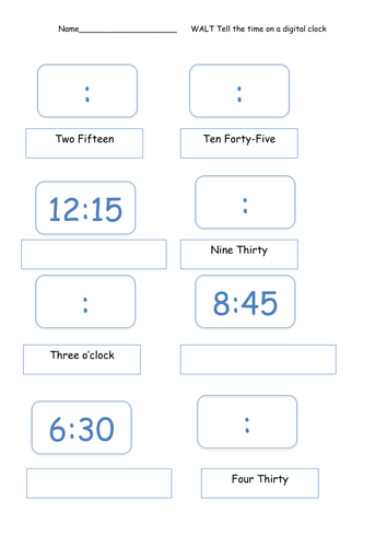 Digital Time Worksheet by SarahTeresa - Teaching Resources - TES