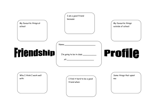 Friendship Profile: KS1 / KS2 PSHE worksheet by christomkins ...