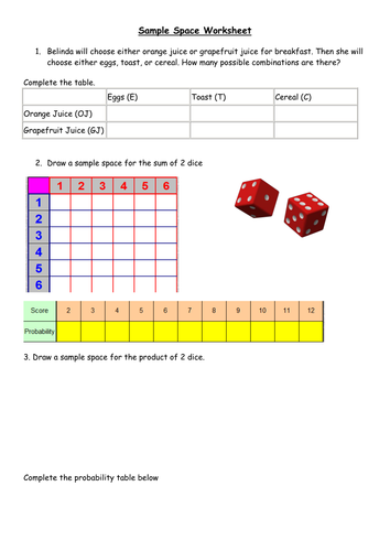 Worksheets Sample Space Worksheet sample space ks3 probability activity by bballard teaching resources tes