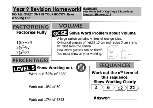 Maths homework help year 9