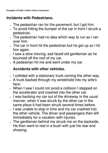 Eyewitness Report Of A Car Accident