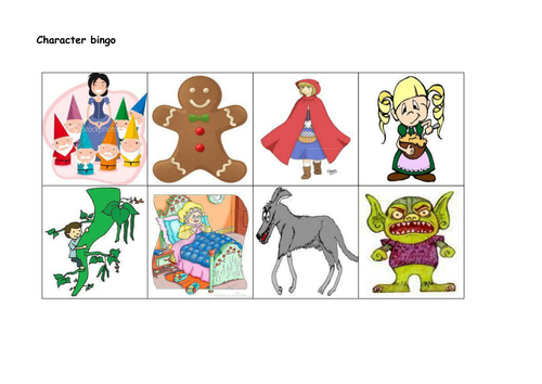 Traditional tales characters pictorial bingo game