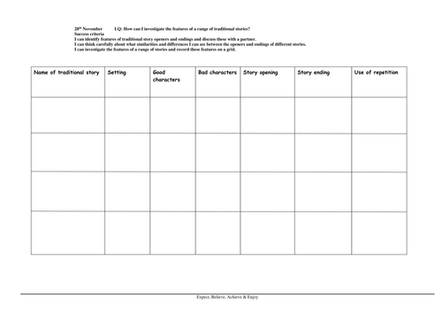 Grid for investigating traditional tales
